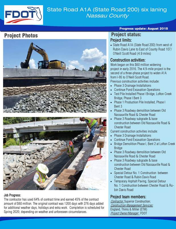 Monthly Progress Update from FDOT Regarding State Road 200